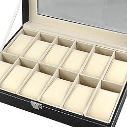 Yahee Uhrenbox Schaukasten Uhrenkoffer Uhrenschatulle Uhrenkasten für 12 Uhren
