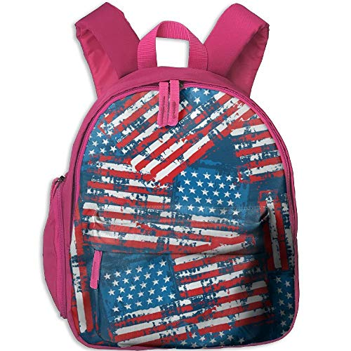 American Flag Double Zipper Closure Waterproof Children Schoolbag Backpacks with Front Pockets for Kids Boy Girl - American-flag Fish