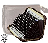 #10: RFID Blocking Vintage Leather Credit Card Holder Security Travel Wallet fits 11 Debit/Credit Cards & 2 Money Pockets with Zipper for Men & Women- Brown