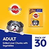 Pedigree Adult Wet Dog Food, Grilled Liver Chunks Flavour in Gravy with Vegetables, 30 Pouches ( 30 X 70 g )