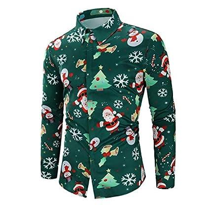 MEIbax Explosión Primavera Otoño Navidad Impresión Ocio Slim Fit Camisa Manga Larga Hombre Solapa Camisetas Tops Delgada Abrigo Divertidas Hombre Blusa Cárdigans Jersey Delgada Abrigo
