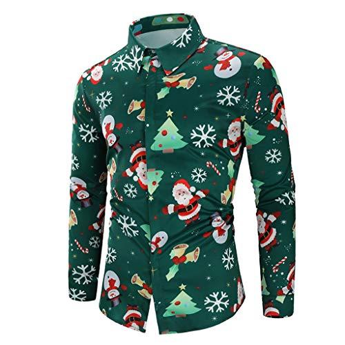 Zylione Mode Herren Hemd Weihnachten Weihnachtshemd Freizeithemd Langarmshirt Button-Down Männer Bluse Shirt Top Casual Snowflakes Santa Candy Druck Shirt