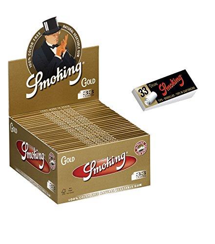 1 Box Smoking Gold King Size Papers 50 Heftchen x 33 Blättchen mit Smoking Heftchen 2 x 50 Filtertips Original®