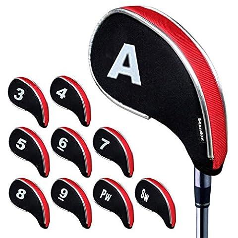 Andux couvre-clubs de golf avez zippé capuchon de golf 10pcs Noir/rouge MT/YB02