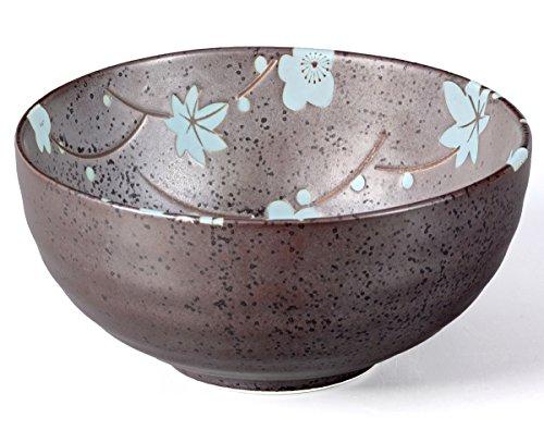 Matcha Schale/Matcha Teeschale 250ml anthrazit/blau, Blütendesign, gesprenkelt, Original Aricola®