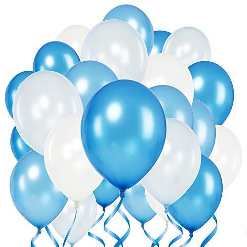Premium Luftballons – Heliumluftballons • mit Metallic Glanzeffekt • 50 Stück • 4 leuchtende Farben • Weiß, Babyblau, Blau, Royalblau • XL Größe 30cm • Metallic Luftballons dienen als hochwertige Deko für Hochzeit, Geburtstag, Taufe, Party usw. • Premium Qualität • 100% Natur Latex • 3,6g • extra reißfest • mit Luft oder Helium füllbar • Hergestellt in der EU • von Loveballoons