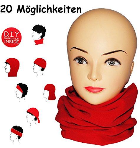 alles-meine.de GmbH Multifunktionstuch - Fleece -  kräftiges rot  - UNIVERSAL Größe - Schlauchschal / Mütze / Piratentuch / Halstuch - für Baby / Kinder / Erwachsene - Loop Kin..