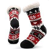 CityComfort Chaussons nouveauté 3D tricotés dans des pantoufles extra chaudes en laine d'hiver super douce (marine et rouge norvégien)