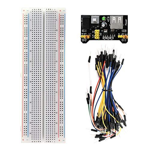 KEYESTUDIO Starter Kit MB 102 Breadboard Kit mit Netzteil Adapter 3,3V 5V, 830 Breadboard/Steckbrett, 65 STK Steckbrücken/Jumper Wire für Arduino Mega 2560 R3 Raspberry Pi Project - Pi Raspberry Board Brot