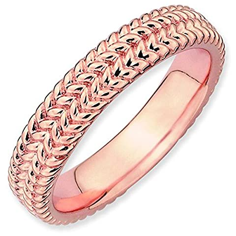 Stackable Expressions Size 9 - 4.5mm Weaved Thick Band 18K Rose Gold Plated Stackable Ring UK Ring Size -