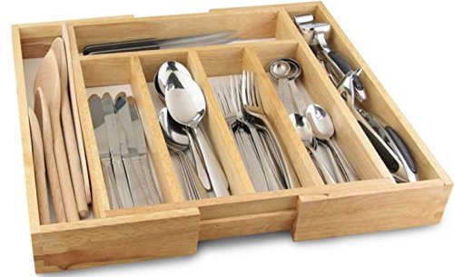 Expandable Wooden Cutlery Holder Tray Expands 32-58 cm Kitchen Utensil Organizer 7 Compartments White Base