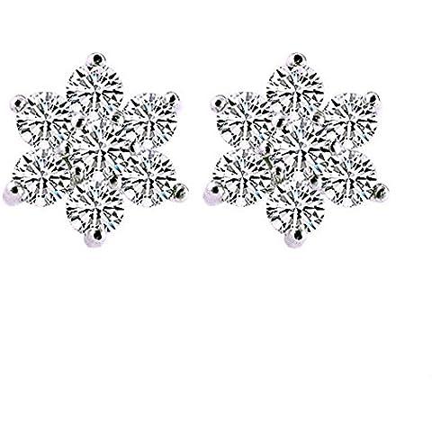 Orecchini in argento Sterling con zirconi, motivo: fiocchi di neve, per donna, per (Swarovski Crystal Fiocchi Di Neve)