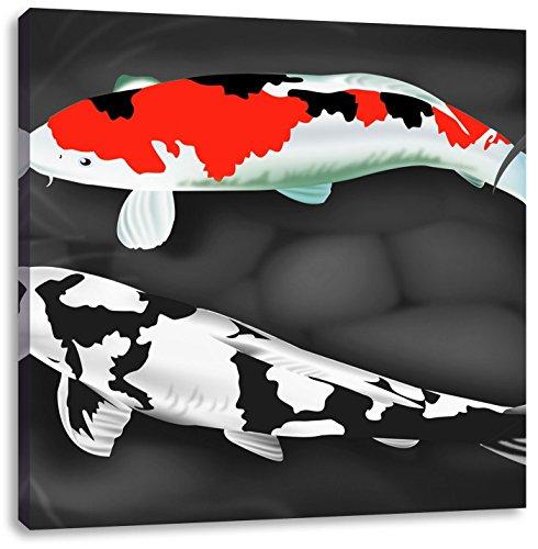 Gezeichnete Koi Karpfen schwarz/weiß, Format: 40x40 auf Leinwand, XXL riesige Bilder fertig gerahmt mit Keilrahmen, Kunstdruck auf Wandbild mit Rahmen, günstiger als Gemälde oder Ölbild, kein Poster oder Plakat (Koi Glücklich)