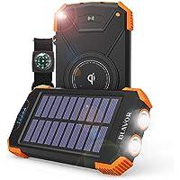 Power bank,Qi Charger Portable External Battery 10000mAh LED Light Solar Emergency Power for iPhone, Samsung, iPad Cellphone Wireless Headphone(IPX4 Splashproof, Shockproof,Solar Panel Charging)