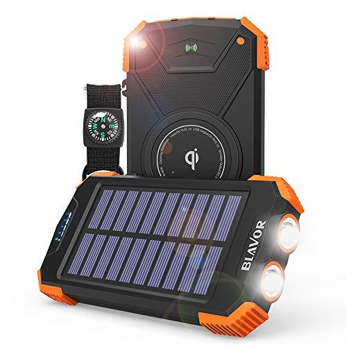 BLAVOR Power Bank, Qi-ladegerät, SolarLadegerät Tragbarer Externer Akku 10.000mAh, LED-Licht, Notfall-Energie für iPhone, Samsung, iPad, Mobiltelefon, kabellose Kopfhörer