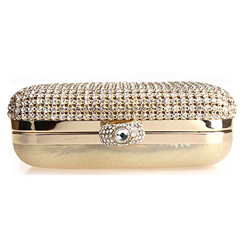 Flada Strass Abend Kupplungen für Frauen Ring Handtaschen Schultertaschen für Hochzeitsfeier Gold Gold