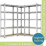 Juskys 3er Metall Regalsystem | 1 Eckregal & 2 Lagerregale | 15 Böden aus MDF Holz| 2625 kg | Schwerlastregal Steckregal Lagerregal Wandregal