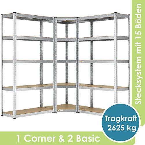 Juskys 3er Metall Regalsystem Basic | 1 Eckregal & 2 Lagerregale | 15 Böden aus MDF Holz | 2625 kg | Schwerlastregal Lagerregal Kellerregal