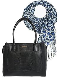 46047054e01f46 Damen Henkel Tasche Geräumige Handtasche in Krokodilleder-Optik Geschenk-  Set zusammen mit Halstuch Schal mit Leoparden- Design…