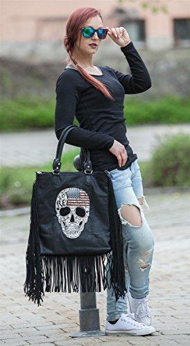 styleBREAKER Handtasche mit USA Design Totenkopf, schwarzem Strass und langen Fransen, Umhängetasche, Damen 02012064, Farbe:Schwarz Antik-Dunkelgrau