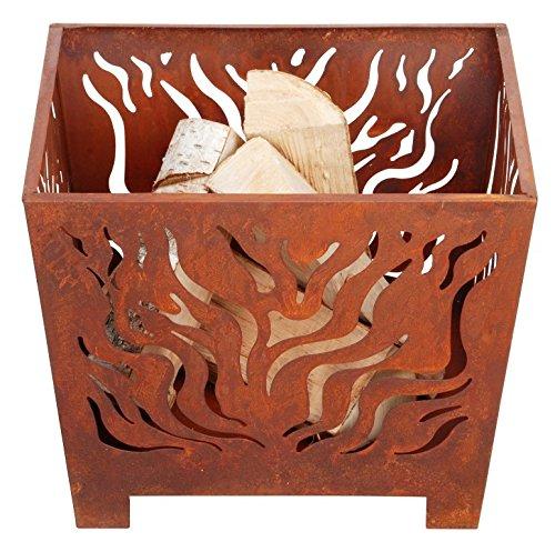 Esschert-Design-Feuerkorb-Feuerstelle-in-rost-quadratisch-verschiedene-Gren