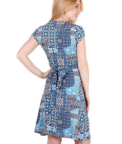 KRISP®Collection Maternité Robe Portefeuille Imprimé Rétro à Carreaux Casual Bleu