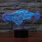 La lumière de nuit design 3D Racing 7 couleurs par couleur pour la maison Support de connexion USB, caméra tactile pour appareil photo numérique pour ordinateur portable