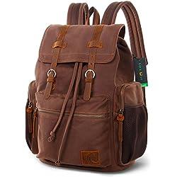 "Lifewit Mochila 25L 17.3"" Laptop Vintage Canvas Mochila Unisex Casual Bookbag Mochila de viaje de senderismo"
