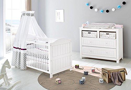 Preisvergleich Produktbild Pinolino Sparset Nina breit, 2-teilig, Kinderbett (140 x 70 cm) und breite Wickelkommode mit Wickelansatz, Fichte massiv, weiß lasiert (Art.-Nr. 09 16 17 B)