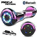 Mega Motion 6.5 Pouces Hoverboard Balance Board,Scooter électrique d'auto-équilibre,Skateboard de Haute qualité,2272 LED certifié UL,Roues LED Light,Haut-Parleur Bluetooth,Moteur 700W