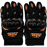 KTM Leatherite Motorcycle Riding Full Finger Gloves (Black With Orange,L Size).