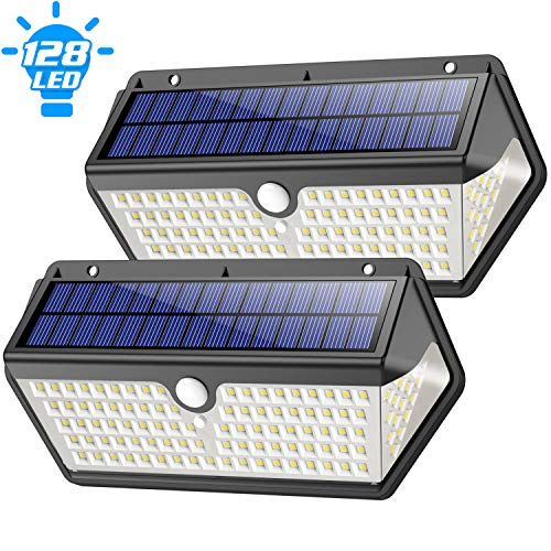 【2020 Newest】Solar Lights Outdoor, Feob 128 Led Solar Security Lights Motion Sensor, 1200lm Ultra Bright Solar Powered Wall Lights Waterproof ip65 Solar Lamp with 3 Lighting Modes for Outside-(2 Pack)