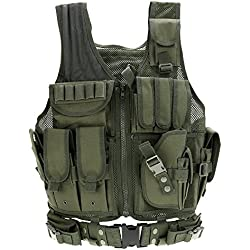 Lixada Gilet Militaire tactique pour chasse camping randonnée jeu de guerre