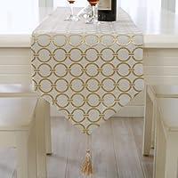 LINA-Minimalista moderno bandiera desk cerchio elegante tavolino da caffè, un tavolo da pranzo con le tovaglie flag flag Letto mobile tv ,golden,33*180cm stoffa