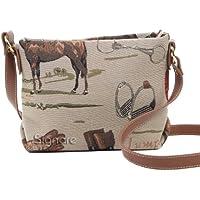 Borsetta donna Signare alla moda in tessuto stile arazzo a spalla borsa messenger a tracolla animale - Tessuto Cavallo