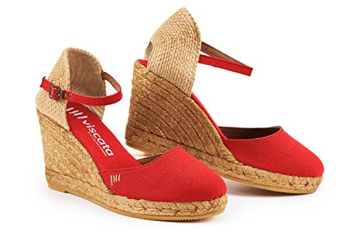 VISCATA Satuna Ankle-Strap, Closed Toe, Classic Espadrilles with 3-inch Heel Made in Spain red