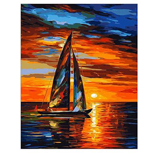 zxddzl Pittura su Tela Fai da Te per la Decorazione Domestica Pittura Digitale Vernice per Auto Sportiva 40X50CM Cornice per Barche Fai da Te 22