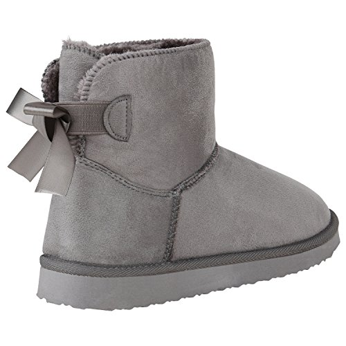 Stiefelparadies Damen Stiefeletten Schlupfstiefel Warm Gefütterte Stiefel Schuhe Flandell Grau Agueda