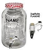Unbekannt Große Zapfhahnflasche / Glas mit Zapfhahn & Deckel - 3,5 l - Incl. Namen - Rot..
