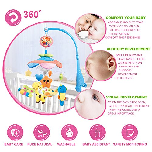 NextX Crib Musical Mobile Baby Cot Mobile Toy with Sofe Colorful Plush Doll,Electric Music Box 20 Lullabies