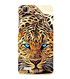 FUSON Blue Eye Tiger Painting 3D Hard Polycarbonate Designer Back Case Cover for Vivo V1