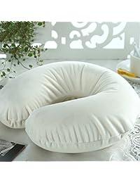 Xiangming Crema-blanco Memoria de algodón U en forma de almohada Coche Nap almohada cuello almohada Cervical en forma de U Viaje de aviación Cuello cabeza de protección