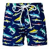 Funnycokid Baby Jungen Schwimmen Badeshorts Sommer Schnelltrocknend Funny Shark Kinder Badeanzug Strand Shorts Blau