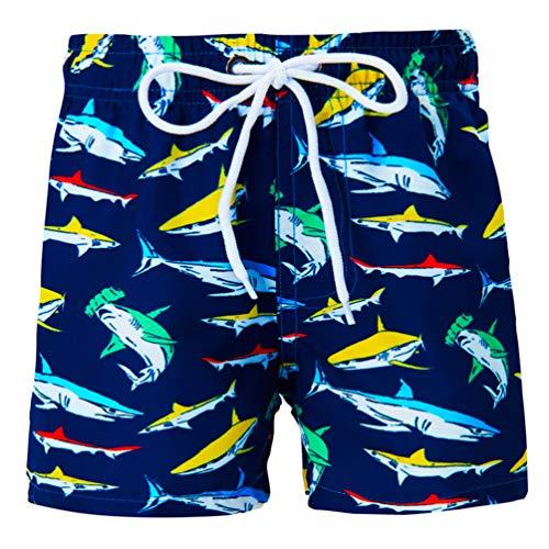 Funnycokid Kinder Swim Shorts gedruckt Sommer Cool Shark Schnelltrocknend Jungen Sweatpants Shorts Badeanzug