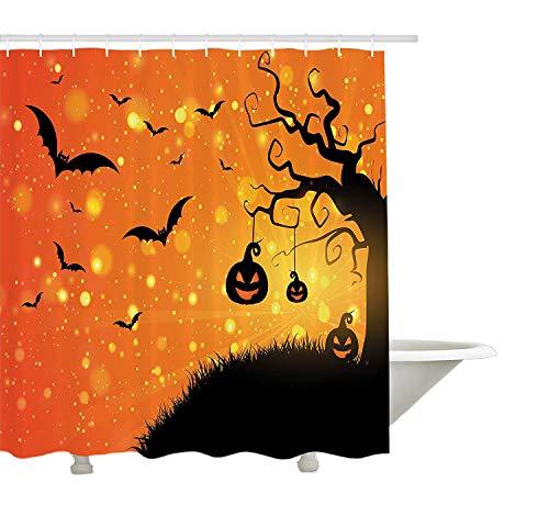 Yeuss Halloween Duschvorhang von Magical Fantastic Evil Night Icons wirbelten Zweige spukt Forest Hill, Stoff Badezimmer Dekor Set mit Haken, Orange Gelb Schwarz 72 'x 80' (Hill Forest Halloween)
