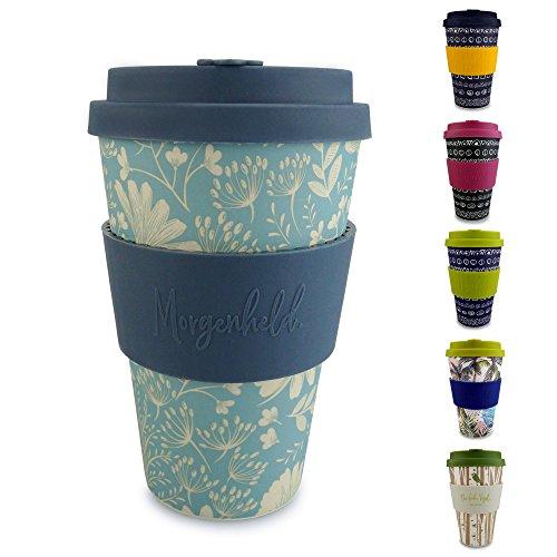 Morgenheld ☀ Dein trendiger Bambusbecher   umweltfreundlicher Coffee-to-Go-Becher   nachhaltiger Kaffeebecher mit Silikondeckel und Banderole in coolem Design 400 ml Füllmenge (Flower)