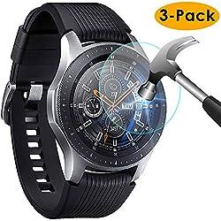 KIMILAR Compatible Samsung Galaxy Watch 46mm / Gear S3 Protection Écran, [3 Pack] 9H Dureté Protecteur D'écran en Verre Trempé pour Samsung Galaxy Watch (46mm) & Gear S3 Frontier/Classic Smartwatch