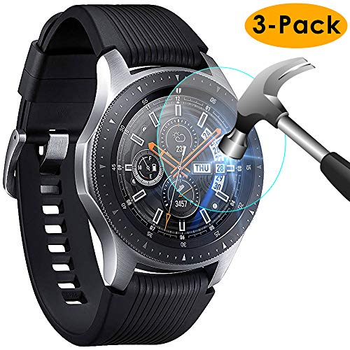 KIMILAR Compatible avec Samsung Galaxy Watch 46mm / Gear S3 Protection Écran, [3 Pack] 9H Dureté Protecteur D'écran en Verre Trempé pour Galaxy Watch (46mm) & Gear S3 Frontier/Classic Smartwatch