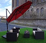 Ampelschirm Sonnenschirm   Rot   Ø 300 cm   Rund   SORARA   ROMA   Polyester 250 g/m² (UV 50+)  Kurbel Mechansimus & 360º Rotating Device   Incl. Schutzhülle & Kreuzfuß for Parasol