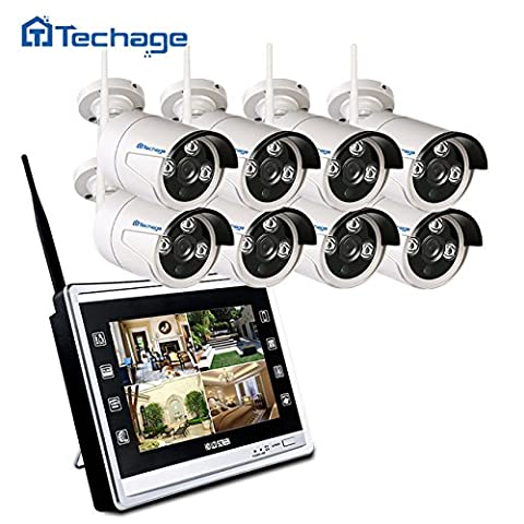 'techage WiFi Home Security Camera CCTV Système 960P avec 11Écran LCD 8canaux 1.3MP WIFI écran CCTV de Surveillance Kit, sans disque dur